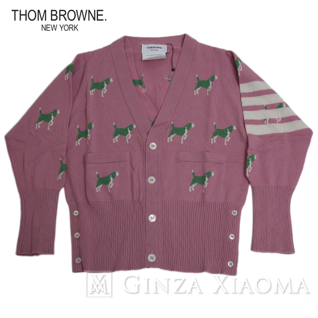 【未使用】THOM BROWNE トムブラウン トップス カーディガン カシミヤ ピンク サイズ2 メンズ 中古