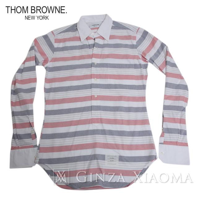 【極美品】THOM BROWNE トムブラウン トップス シャツ コットン ホワイト レッド サイズ2 Mサイズ メンズ 中古
