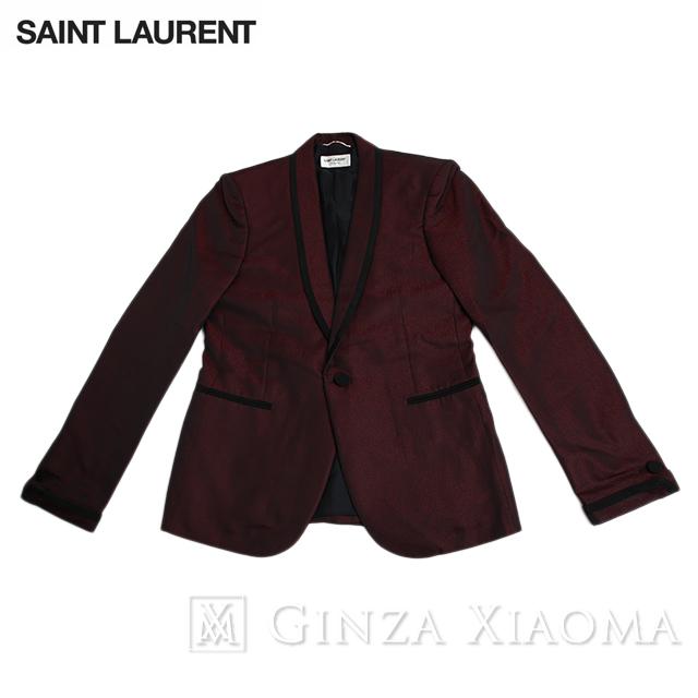 【未使用】SAINT LAURENT サンローラン アウター ジャケット ワインレッド 赤 黒 サイズ46 メンズ テーラード ドレッシー 中古