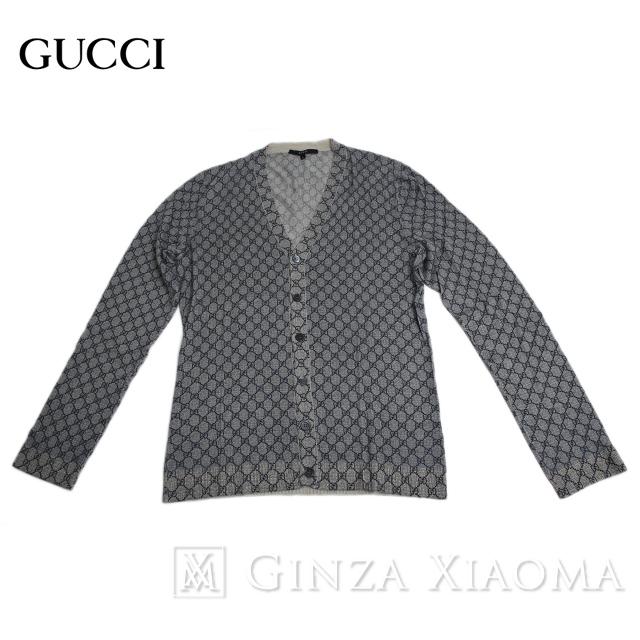 【未使用】GUCCI グッチ GG トップス カーディガン カシミヤ グレー 灰色 サイズL メンズ7 中古