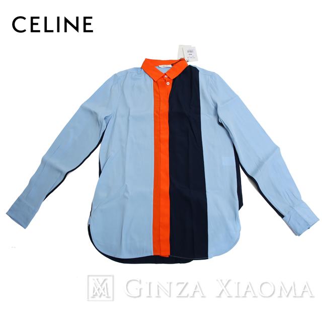 【未使用】CELINE セリーヌ トップス シャツ アセテート シルク ブルー オレンジ 中古