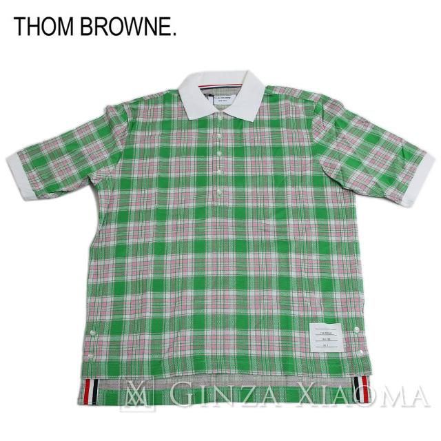 【未使用】Thom Browne トムブラウン トップス 半袖 ポロシャツ コットン グリーン 緑 サイズ3 メンズ 夏