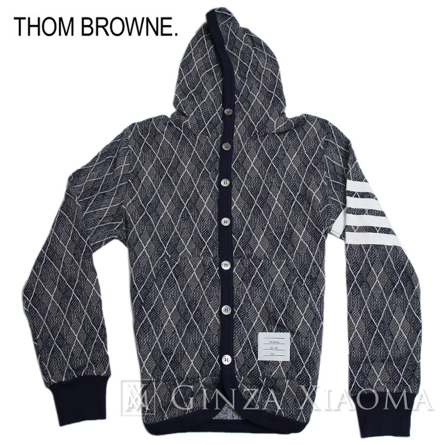 【未使用】Thom Browne トムブラウン ニットセーター ウール グレー トップス サイズ2 メンズ フード 秋冬 中古