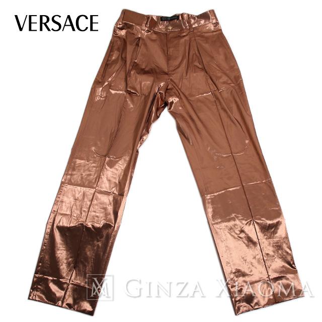 【未使用】VERSACE ヴェルサーチ パンツ サイズ46 スラックス ポリエステル ピンク レディース メンズ おしゃれ トレンド 中古