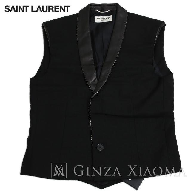 【未使用】SAINT LAURENT サンローラン トップス ベスト サイズ46 ウール ブラック メンズ レザー 黒 ジレ チョッキ 中古