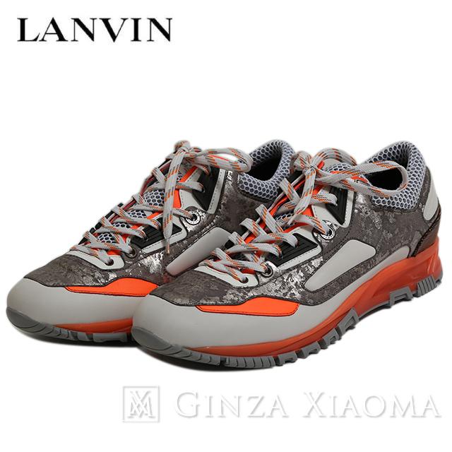 【未使用】LANVIN ランバン 靴 スニーカー サイズ6 ローカット グレー オレンジ レディース メンズ メッシュ 中古