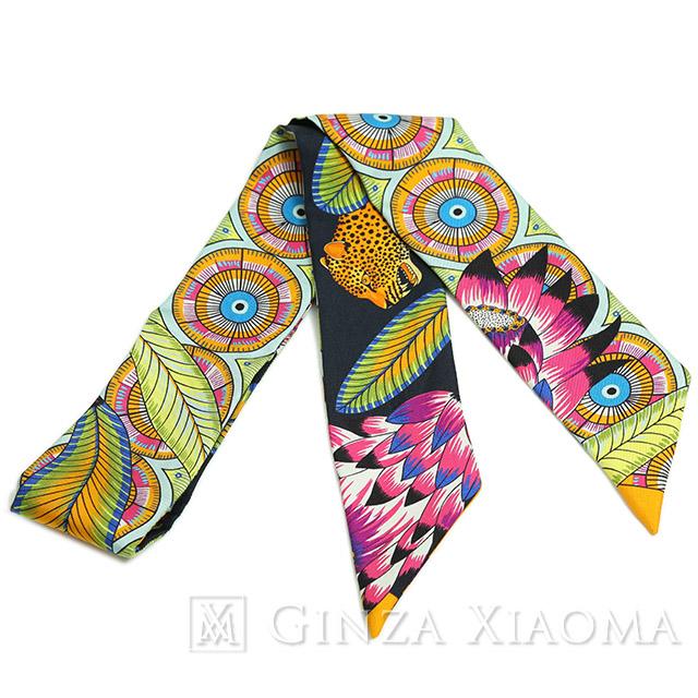 【美品】HERMES エルメス ツイリー シルク マルチカラー スカーフ 柄 人気 おしゃれ 首に巻く かわいい バッグに巻く 定番 人気 プレゼント ギフト 中古