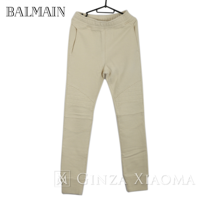 【未使用】BALMAIN バルマン スウェット パンツ バイカー コットン オフホワイト メンズ 中古
