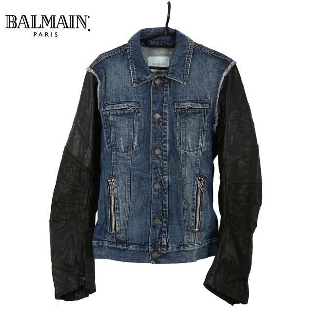 【未使用】BALMAIN バルマン アウター レザーデニムジャケット コットン ブルー 青 カジュアル インディゴ 黒 メンズ 中古
