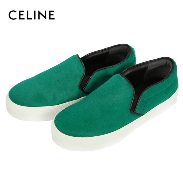 【未使用】CELINE セリーヌ 靴 スリッポン ハラコ グリーン ローカット 緑 春夏 レディース 中古