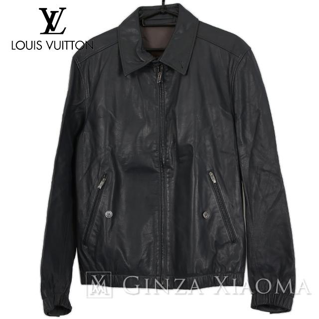 【極美品】LOUIS VUITTON ルイヴィトン アウター ジップアップ レザージャケット ブラック 黒 カーフスキン 牛革 サイズ46 中古