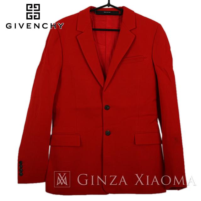 【美品】GIVENCHY ジバンシィ トップス アウター ジャケット ウール コットン レッド 赤 サイズ44 中古