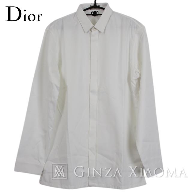 【極美品】Dior ディオール シャツ 長袖 トップス コットン ホワイト 白 サイズ39 春秋 刺繍 メンズ 中古