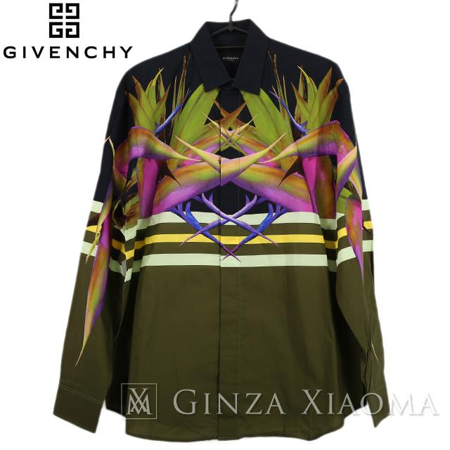 【未使用】GIVENCHY ジバンシー トップス シャツ 長袖 カーキ サイズ2 柄 春秋 メンズ 中古