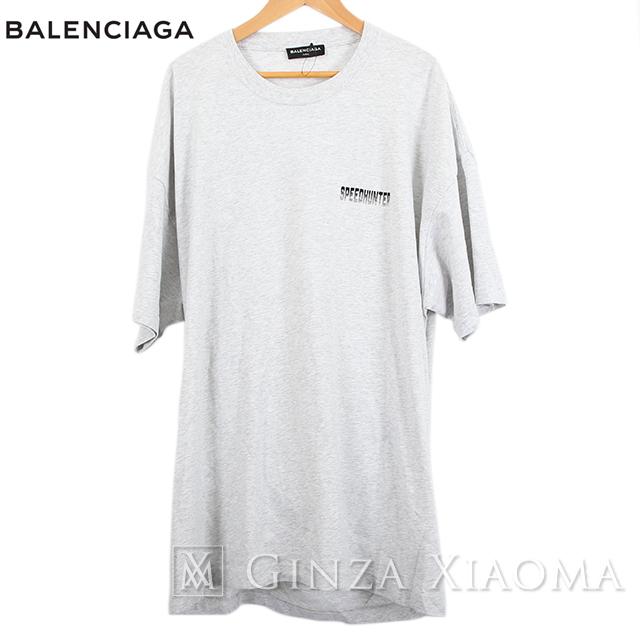 【未使用】BALENCIAGA バレンシアガ トップス カットソー 半袖 Tシャツ ダブルヘム コットン グレー メンズ オーバーサイズ 大きめ トレンド 春夏 中古 スピードハンター クルーネック SPEEDHUNTER