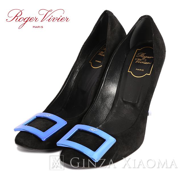 【極美品】Roger Vivier ロジェヴィヴィエ パンプス 靴 ハイヒール スウェード ブラック 黒 青 レディース サイズ39.5cm 中古