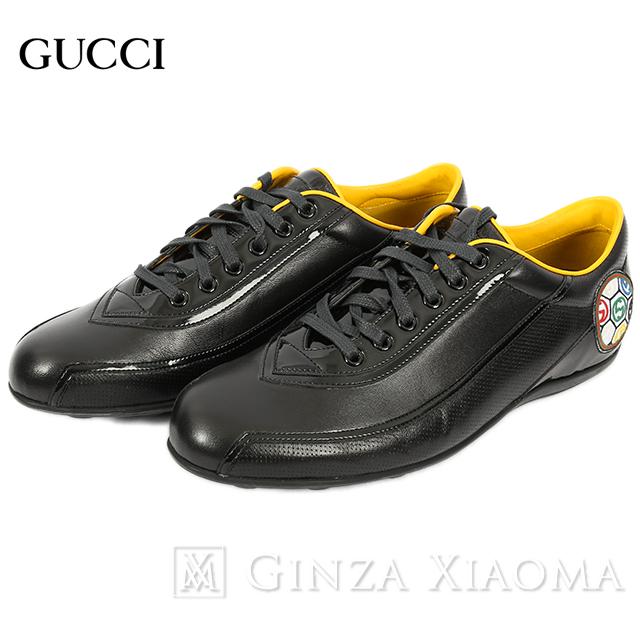 【未使用】GUCCI グッチ 靴 シューズ スニーカー ローカット レザー ブラック 黒 サイズ25cm メンズ イタリア 中古