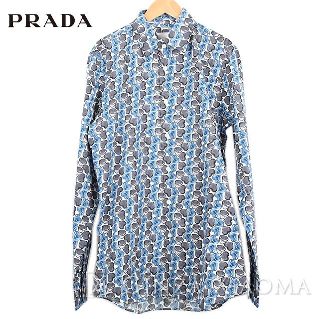 【未使用】PRADA プラダ トップス シャツ 長袖 ブルー サイズ38 青 白 ハート メンズ コットン 中古
