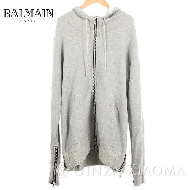 【未使用】BALMAIN バルマン アウター パーカー コットン ジップアップ グレー サイズM メンズ 中古