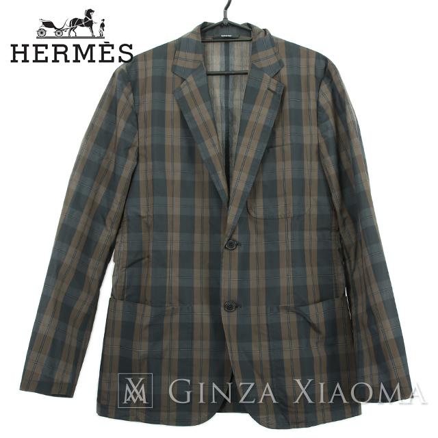 【極美品】HERMES エルメス トップス シャツ ジャケット ブラウン チェック柄 サイズ48 春夏秋 テーラード メンズ 茶 中古