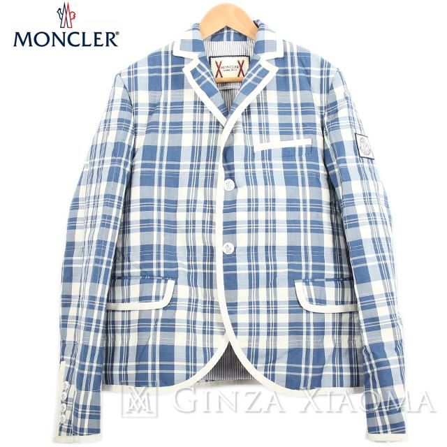 【極美品】MONCLER GAMME BLEU モンクレール ガムブルー アウター テーラード 長袖 ダウン ジャケット ホワイト ブルー 青 白 サイズ1 ゙ルー 中古