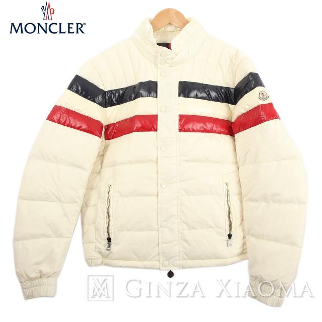 【美品】MONCLER モンクレール アウター ジャケット ナイロン オフホワイト 白 ボーダー サイズ2 中古