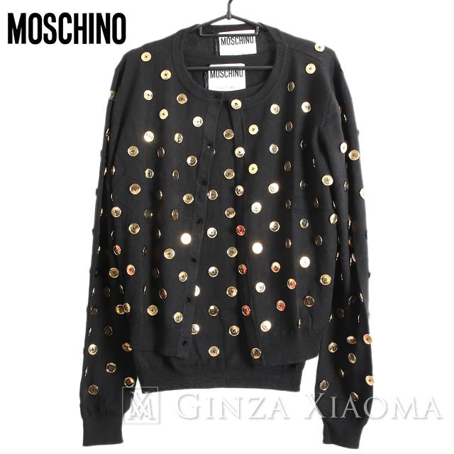 【未使用】MOSCHINO モスキーノ カーディガン アンサンブル ウール ブラック 黒 サイズ46 レディース ボタン 中古