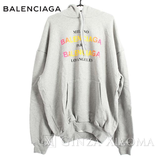 【未使用】BALENCIAGA バレンシアガ トップス パーカー コットン グレー 18SS XSサイズ プルオーバー フーデット 春秋 ロゴ 大きめ オーバーサイズ トレンド 定番 中古