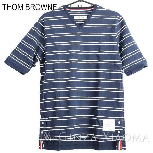 【極美品】Thom Browne トムブラウン Tシャツ トップス 半袖 カットソー ネイビー ボーダー柄 メンズ Vネック 春夏 中古 トリコロール ボタンスリット 青白