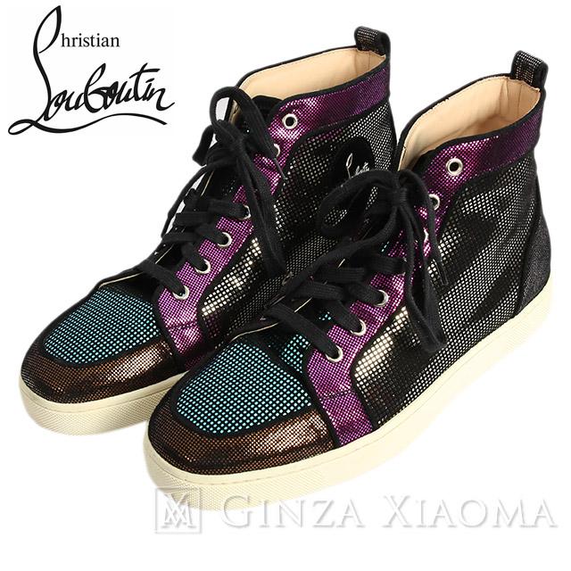 【美品】christianlouboutin クリスチャンルブタン 靴 スニーカー シューズ ハイカット メタリックマルチカラー サイズ26 メンズ