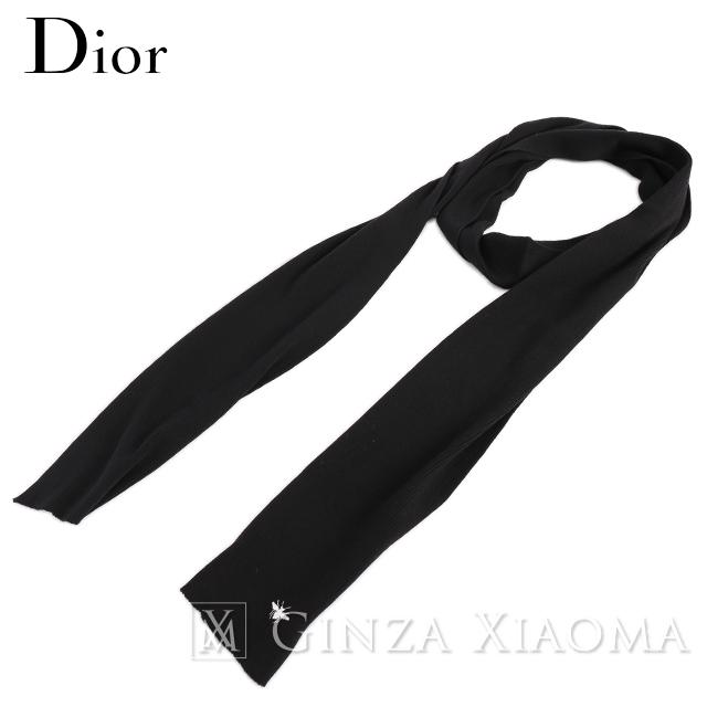 【未使用】Dior ディオール マフラー ストール ウール ブラック 黒 春秋冬 プレゼント ギフト 中古