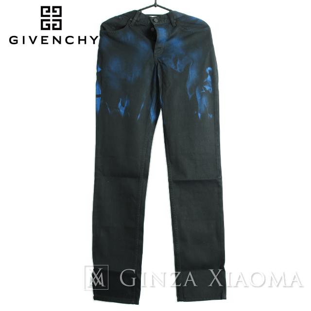 【未使用】GIVENCHY ジバンシィ パンツ コットン デニム ブラック 黒 ブルー 青 5ポケット テーパード 中古