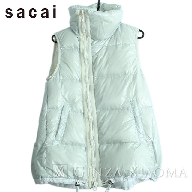 【未使用】sacai luck サカイラック アウター ノースリーブ ダウンベスト ジップアップ ホワイト 白 秋冬 レディース 中古