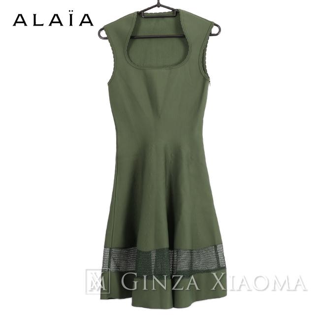 【極美品】ALAIA アライア ワンピース ドレス ビスコース グリーン トップス サイズ36 緑 レディース パーティー 中古
