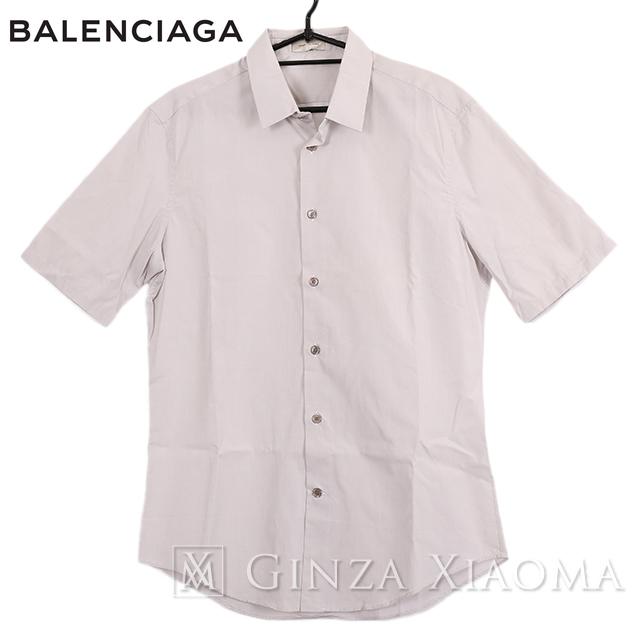 【未使用】BALENCAIGA バレンシアガ トップス 半袖 シャツ ライトグレー メンズ 中古 春夏秋