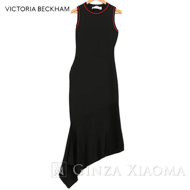 【未使用】Victria Beckham ヴィクトリアベッカム トップス ノースリーブロングワンピース ビスコース ナイロン ポリエステル ブラック 中古 アシンメトリー ドレス パーティー お祝い レディース 黒