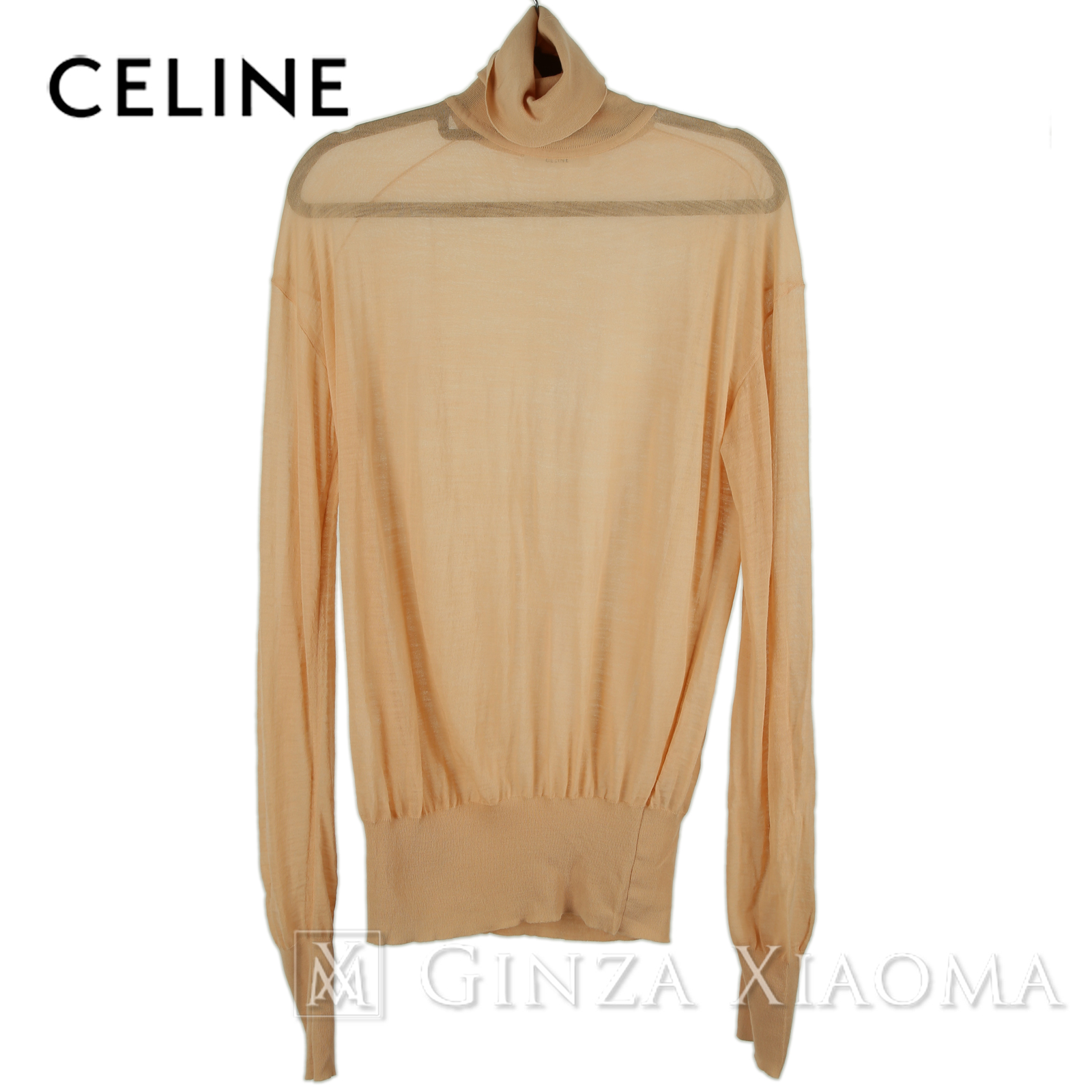 【極美品】CELINE セリーヌ トップス ハイネック セーター ウール ポリウレタン ピンク 中古
