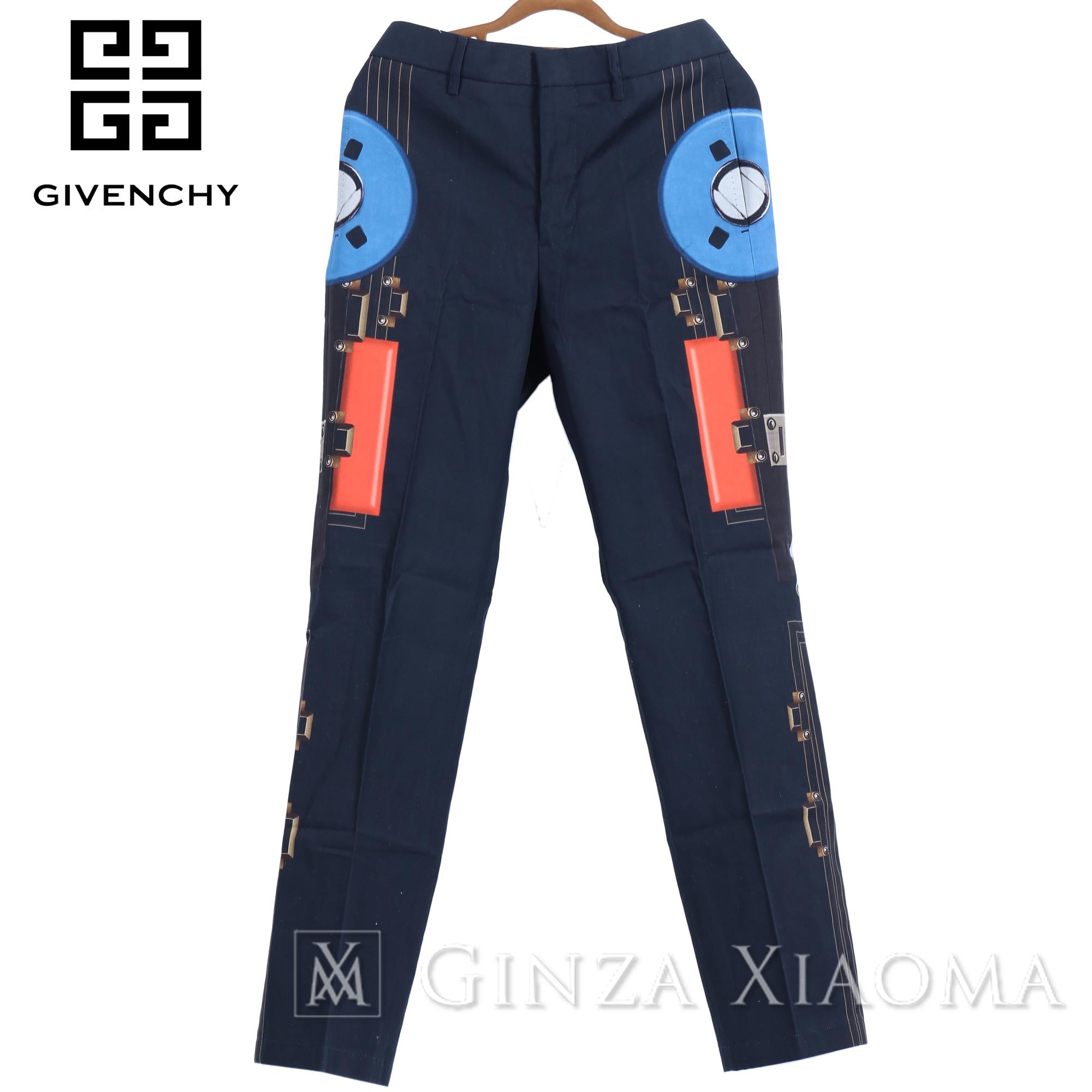 【未使用】GIVENCHY ジバンシィ スラックス パンツ コットン ブラック パンツ メンズ 柄 シングル オールシーズン デザイン 中古
