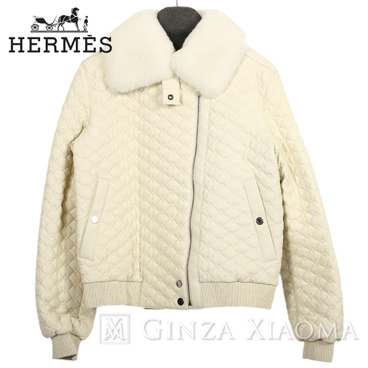 【未使用】HERMES エルメス アウター ムートンジャケット ポリエステル コットン 鹿 羊革 リアルファー ホワイト