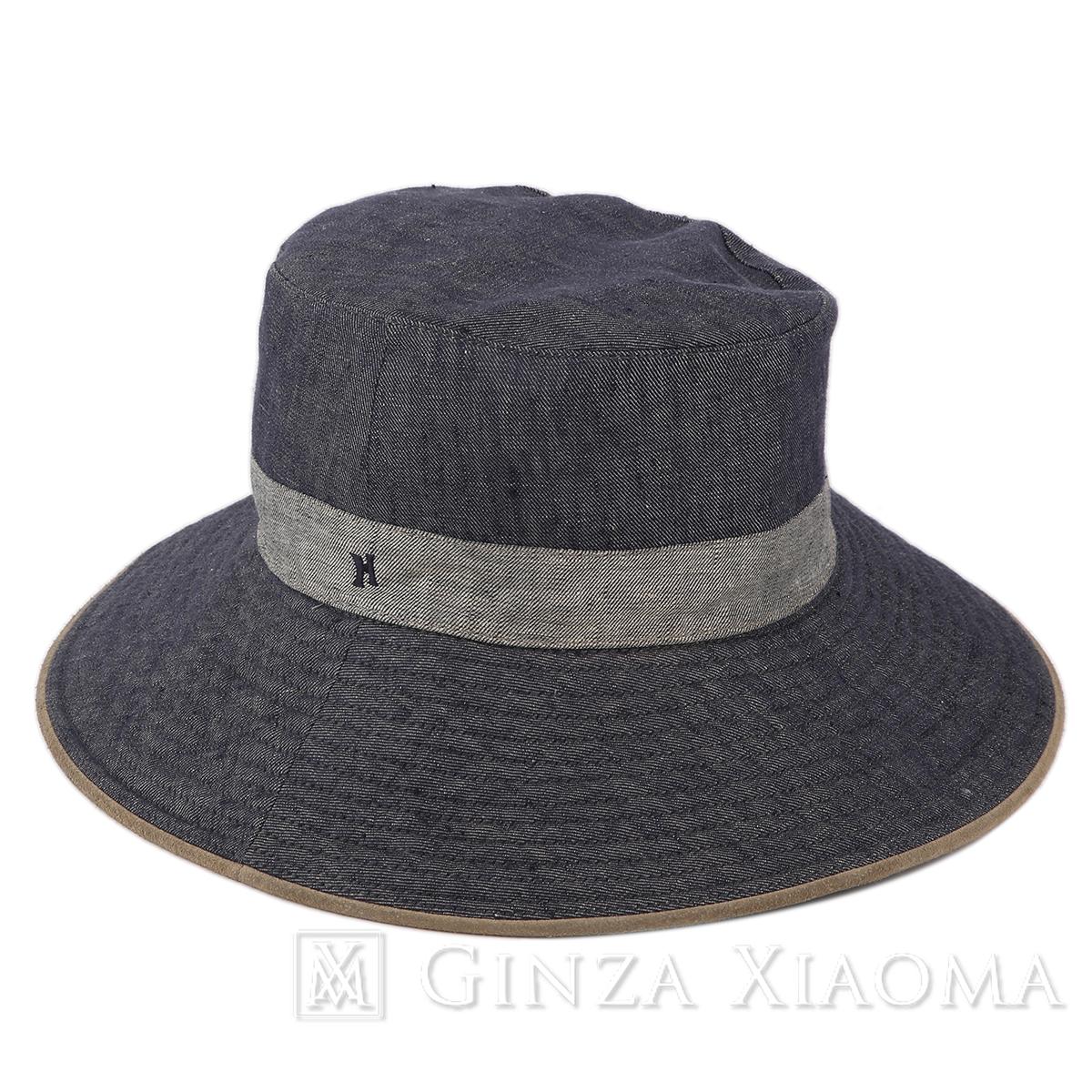 【美品】HERMES エルメス ハット ネイビー コットン リネン サイズ57 リネン ブルーグレー 帽子