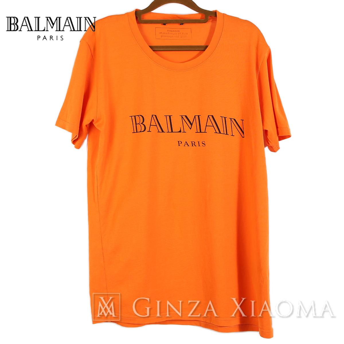 【美品】BALMAN バルマン 半袖カットソー Tシャツ コットン オレンジ Sサイズ 中古