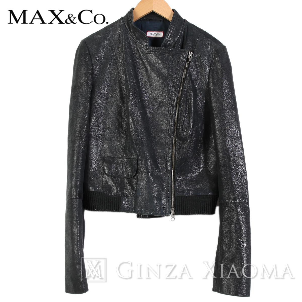 【美品】MAX&Co マックス&コー アウター レザーブルゾン ブラック 中古