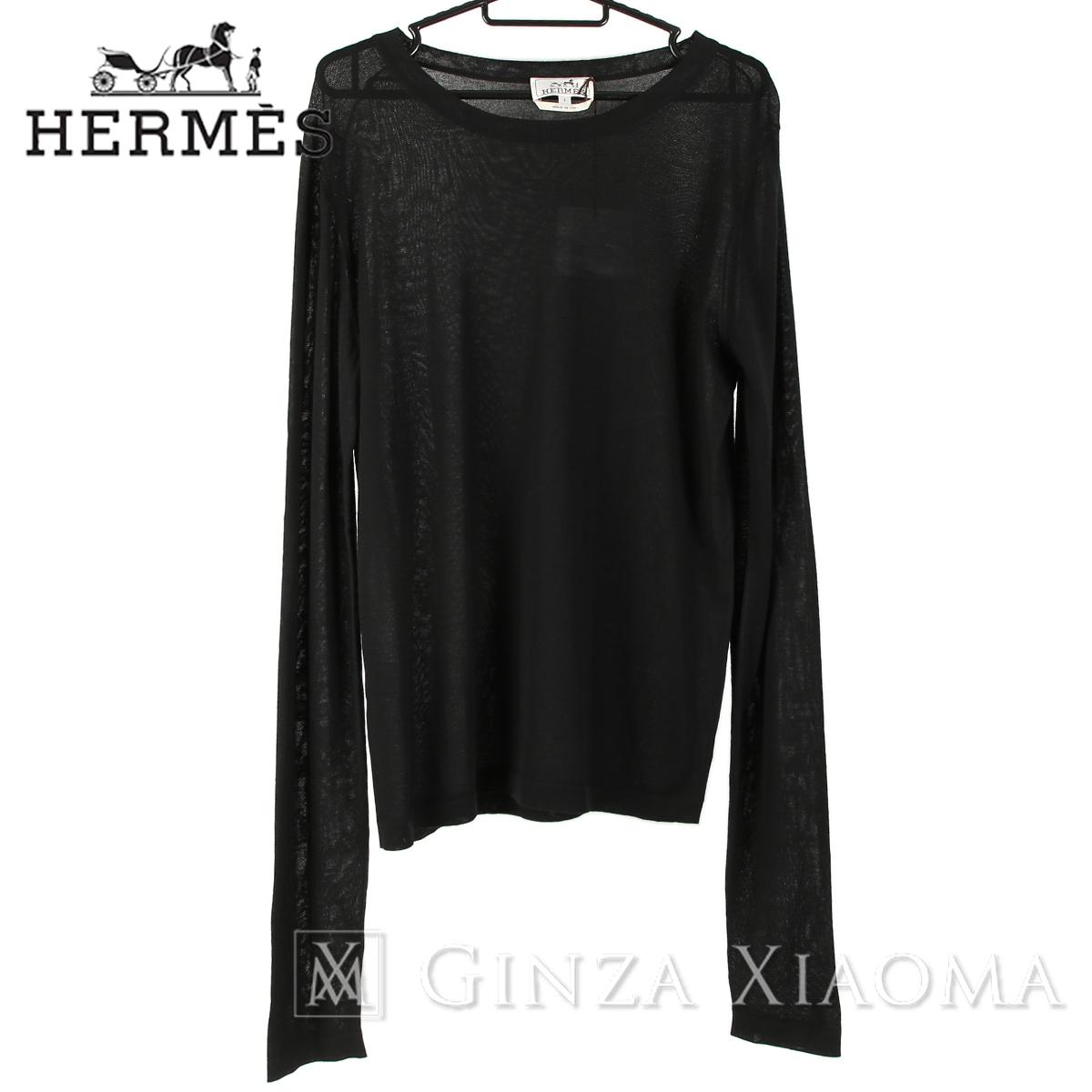 【未使用】HERMES エルメス トップス カシミヤ ブラック 中古