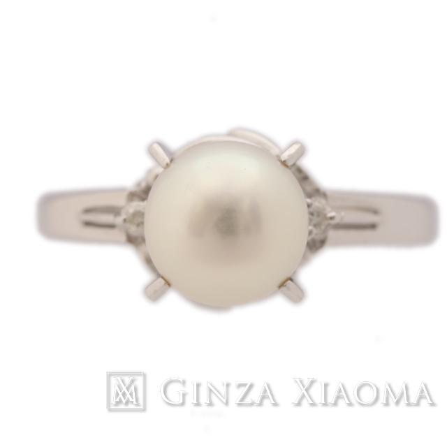 【中古A/美品】 パールリング ダイヤモンド Pt900 17号 指輪 リング アクセサリー