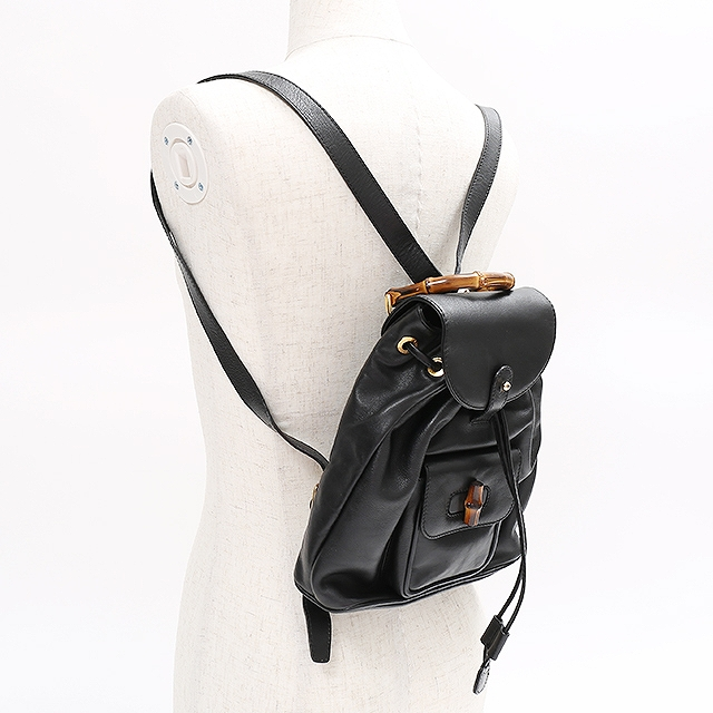 0109aeb81b0b Auth Gucci gucci Bamboo Backpack Shoulder Bag Black Leather Vintage 003  1956 0030  Used