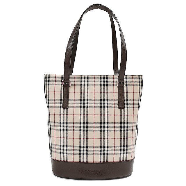 abc42592670b BURBERRY Burberry checked pattern tote bag beige   dark brown tote bag