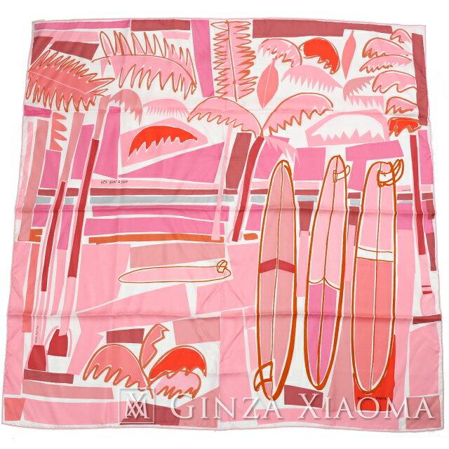 【新品】 HERMES エルメス カレ90 [SEA SURF AND FUN 海とサーフとファン]DJ/BLAND/ROSE/CORAIL ピンク系 シルク スカーフ