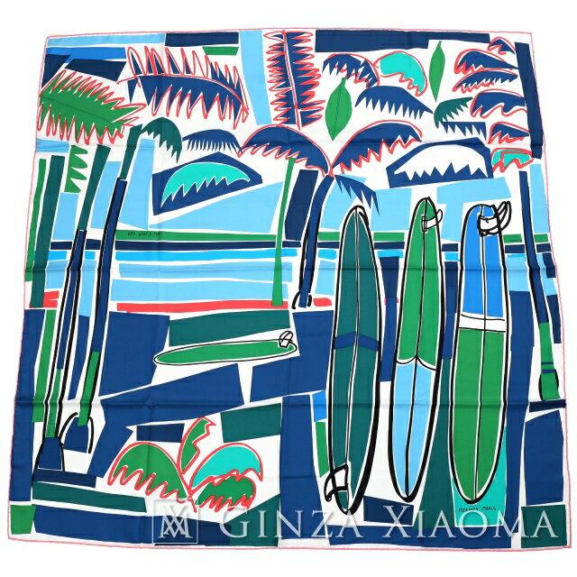 【新品】 HERMES エルメス カレ90[SEA, SURF AND FUN/海とサーフとファン]QC/BLANC/BLEU/VERT スカーフ ブルー/グリーン系