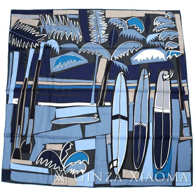 【新品】 HERMES エルメス カレ90[SEA, SURF AND FUN/海とサーフとファン]ME/ANTHRACITE/MARINE/BLEU JEAN スカーフ ブルー系