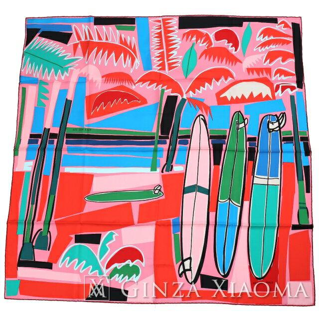 【新品】 HERMES エルメス カレ90 [SEA SURF AND FUN 海とサーフとファン]QC/ROSE/BLEU/VERT レッド系 マルチカラー シルク スカーフ